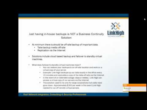 Link High Tech- Disaster Recovery & Business Continuity Webinar.wmv