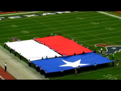 Texas flag and Texas state song before the Houston Texans game