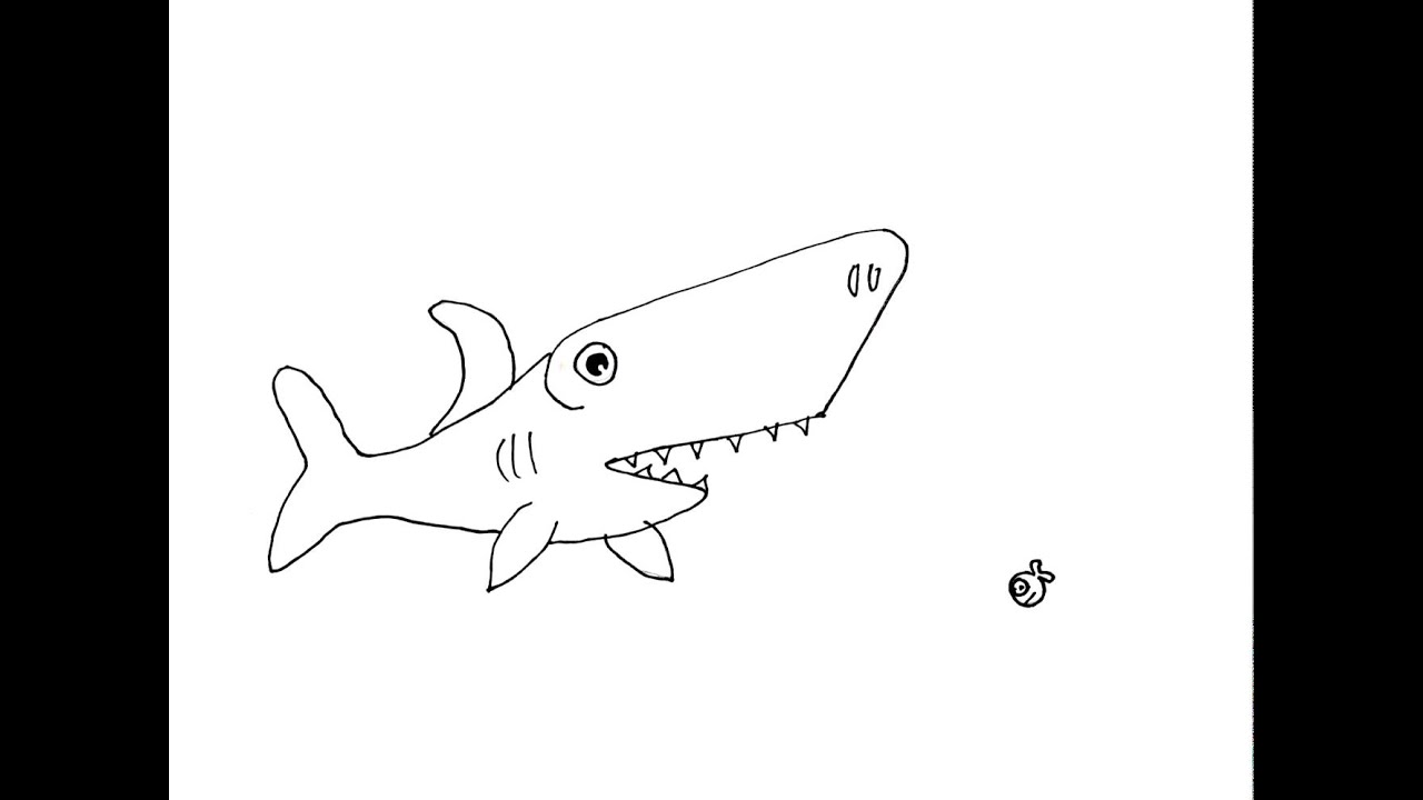 Line Drawing Shark : Animation shark line drawing youtube