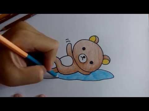 สอนวาดการ์ตูน ริลัคคุมะ Rilakkuma นอนบนเบาะ ตอน ระบายสี