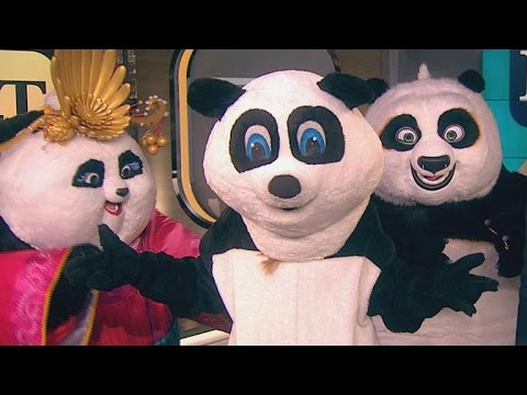 Nancy O'Dell Wears a Panda Suit on ET After Losing Super Bowl Bet to Bryan Cranston