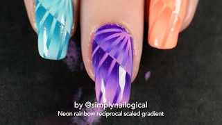 Neon rainbow reciprocal scaled gradient nail art