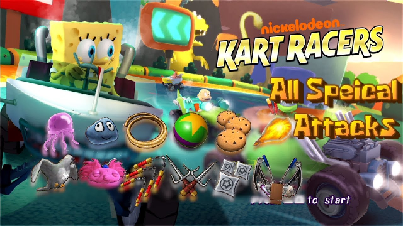 Nickelodeon Kart Racers - All Special Attacks (Items)