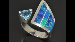 Lab Opal Ring with Blue Topaz Set in Sterling Silver