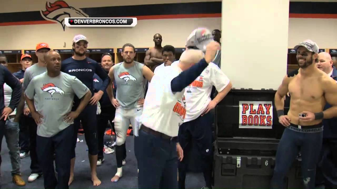 Denver Broncos Locker Room Celebration Afc Championship