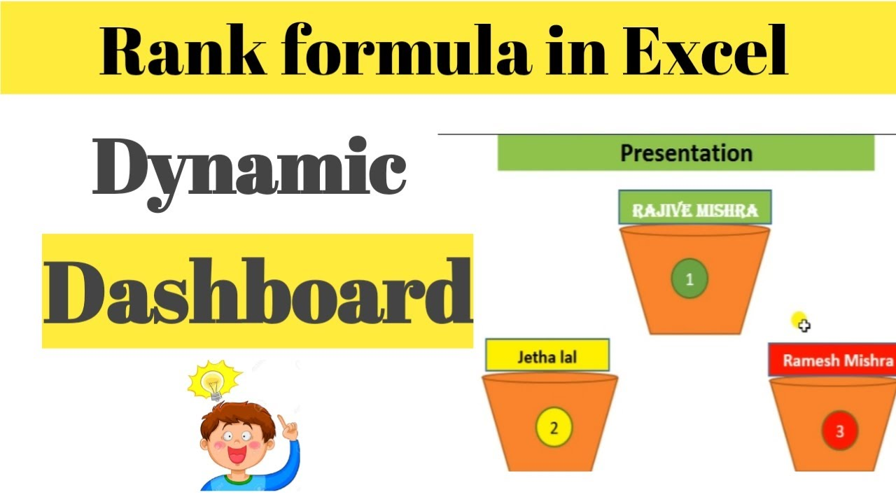 How to use rank formula in excel || dynamic dashboard in excel || ms excel2010 tutorial