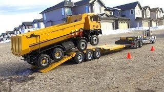 RC ADVENTURES - Chrome Tamiya King Hauler Truck pulls 8x8 Tipper Truck on Triple Axle Trailer