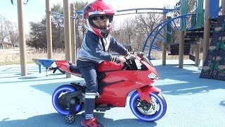 Huge Surprise Toy: Motorcycle Sport Bike Power Wheel  Ride On Test Drive At Park Playground