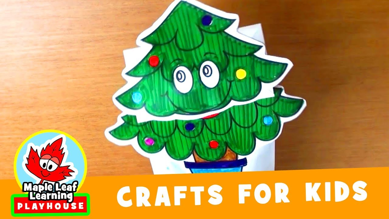 Christmas Tree Puppet Craft for Kids | Maple Leaf Learning Playhouse ...