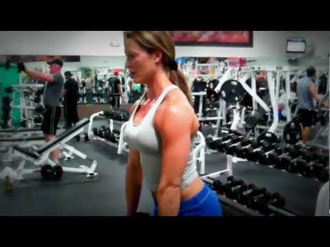 Erin Stern practices dumbbell upright rows