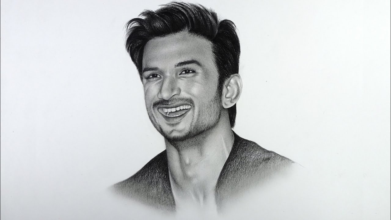 Drawing portrait with pencil   Sushant Singh Rajput - YouTube