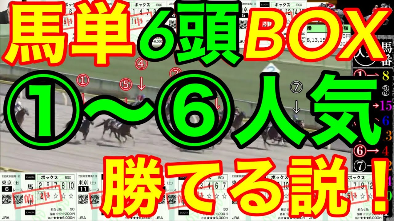 【競馬検証】7万2千円投資!1~6番人気馬で馬単6頭BOX買えば勝てる説を検証!
