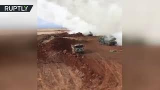 Видеокадры ударов турецкой армии по подконтрольному курдам городу Африн в Сирии