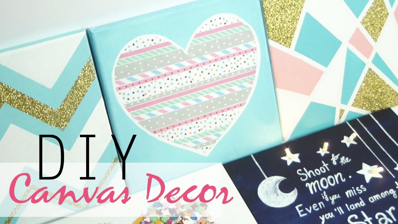 Teenage Bedroom Gift Ideas diy: 5 easy canvas decor & gift ideas - youtube