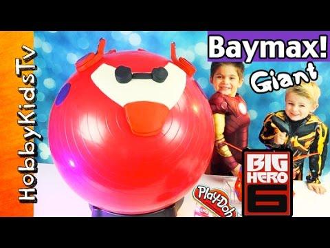 Mega GIANT Play-Doh BAYMAX FLYING Surprise Egg Head! Big Hero 6, Disney Cars, HobbyKidsTV