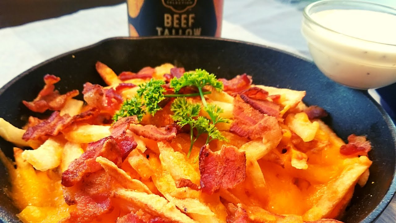 Loaded Double Fried French Fries Made In Beef Tallow Delicious Crispiest Bacon Cheese Fries Youtube