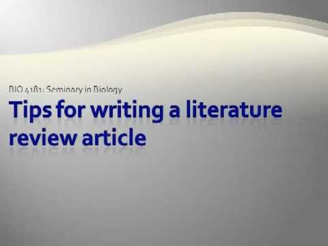 Tips for Writing a Literature Review