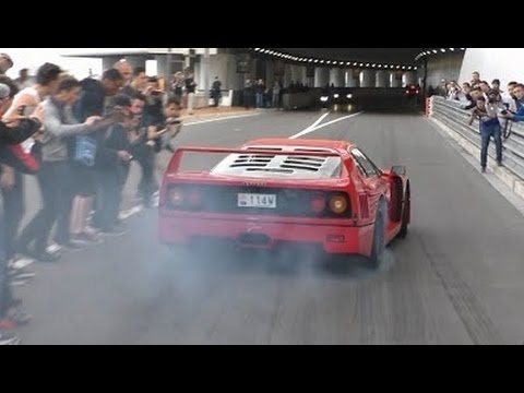 Ferrari F40 in Action: Burnout and awesome Backfire Sound!
