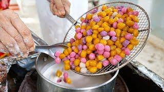 Thai Food - RAINBOW BALLS Coconut Milk Dessert Aoywaan Bangkok Thailand