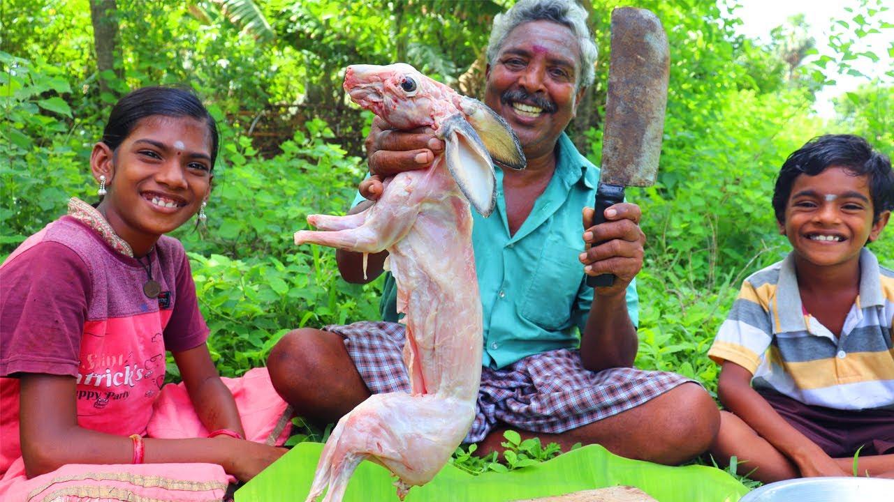 RABBIT PAKODA RECIPE | Crispy Rabbit Pakoda Cooking and Eating in Village | Farmer Cooking