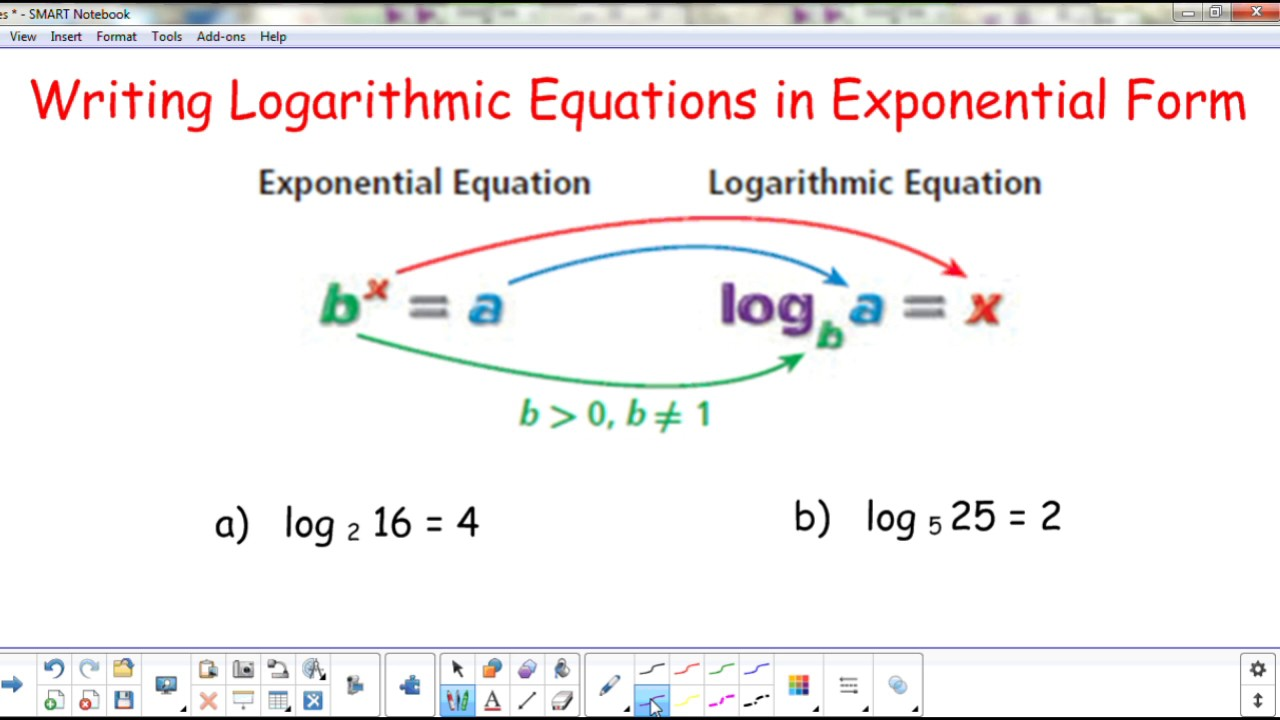 write the equation in logarithmic form To convert from exponential form to logarithmic forms, you must first identify the base of the equation learn the rest of the steps with our guided questions.