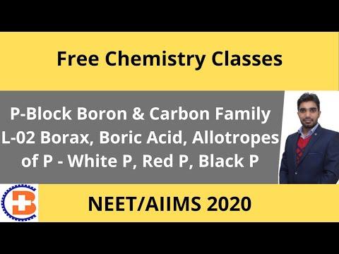 P-Block Boron & Carbon Family L-02 Borax, Boric Acid, Allotrops Of P - White P, Red P, Black P CL-89
