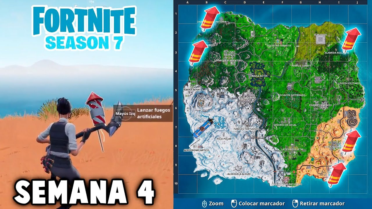 Mision Fuegos Artificiales Semana 4 Fortnite Temporada 7 Youtube