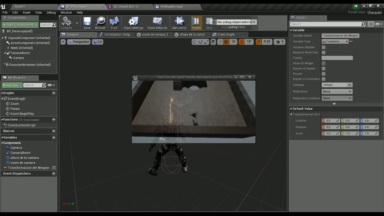 Intro a Unreal Engine 4: 20 - Spawn actors y Attach To Component
