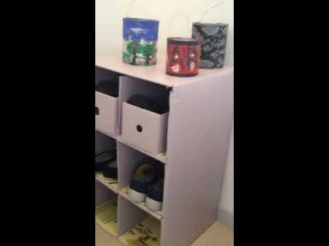 Meuble A Chaussures Fait En Carton Diy Youtube