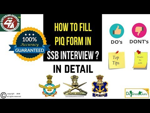 How To Fill PIQ Form | SSB INTERVIEW TIPS