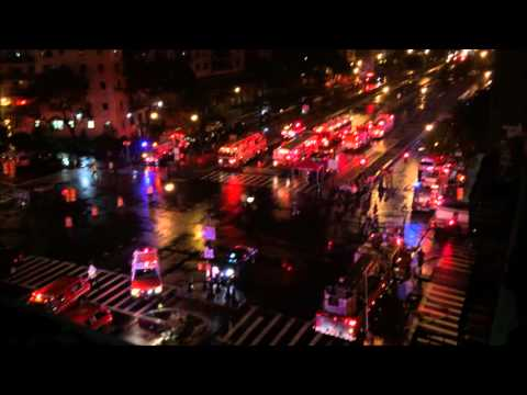 FDNY BATTLING 4 ALARM FIRE ON THE GRAND CONCOURSE IN THE CONCOURSE AREA OF THE BRONX IN NEW YORK.