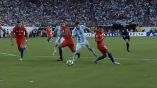 Leo Messi with a horrible dive against Chile inside the box