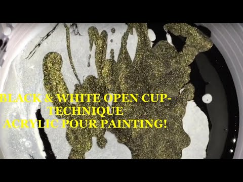 Open cup technique acrylic pour painting-black and white-*MUST WATCH RESULTS!