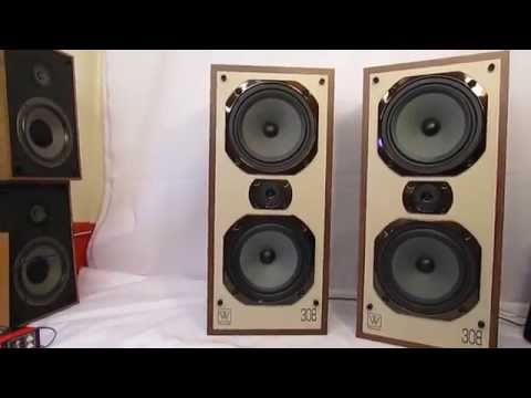 VINTAGE WHARFEDALE SPEAKERS 308 FWO 3 WAY LOUD SPEAKER SYSTEM 120 WATTS