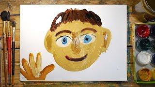 Как нарисовать ПАПУ красками | Простые рисунки красками | Урок рисования для детей(РыбаКит - Папа Рисует: http://www.youtube.com/ribakit3 РыбаКит Live - Большой Папа Рисует: ..., 2016-04-21T07:22:16.000Z)