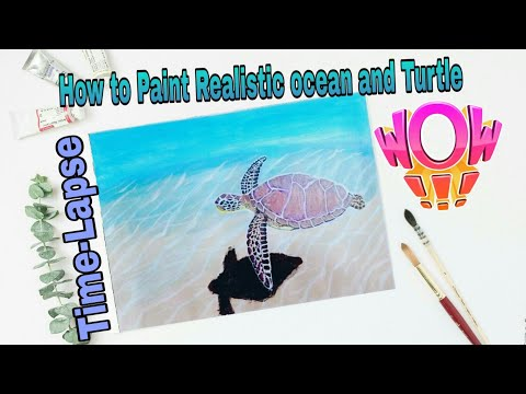Time Lapse Version Acrylic Lesson  tortoise in deep sea painting for beginners step by step