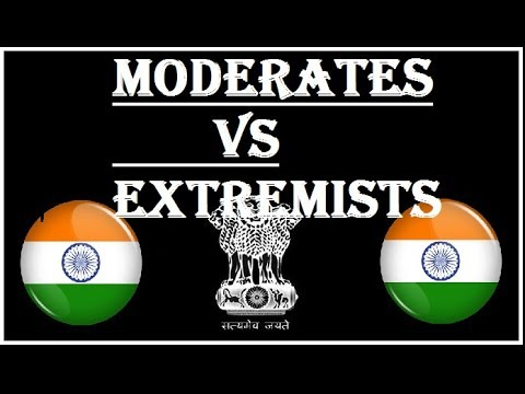 Difference between moderates and extremists in Hindi