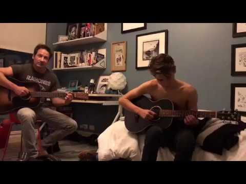 David Duchovny and son playing the guitar