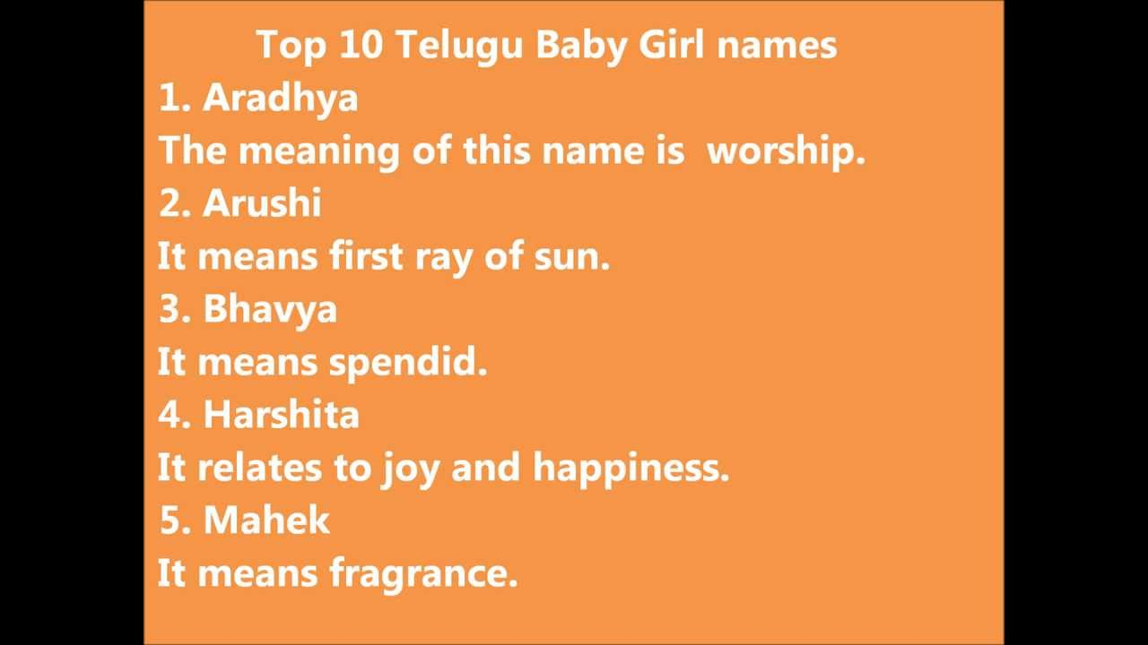 Top 10 Telugu Baby Girl Names