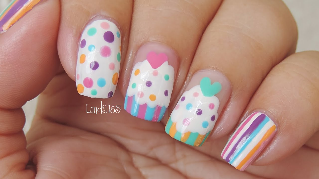 Nail art cupcake addicted featuring colorina nail - Decoracion de unas colombianas ...