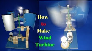 make a wind turbine with motor alternator free energy generator light bulb 2018 new technology