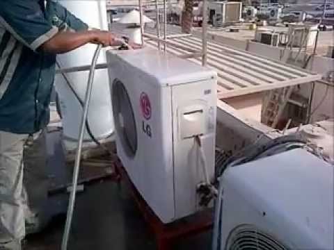 ac servicing (split ac outdoor pm) - YouTube