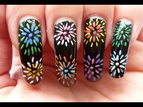 Rainbow Fireworks! Nail Art Tutorial HowTo With Acrylic Paint HD Video - Rainbow Fireworks! Nail Art Tutorial HowTo With Acrylic Paint HD