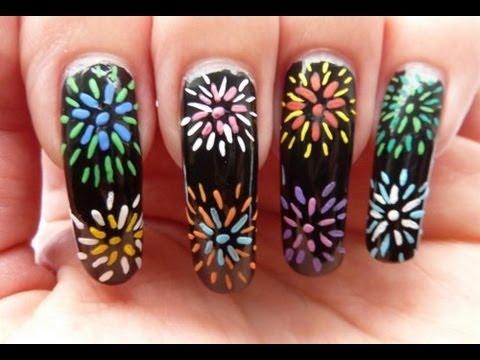 rainbow fireworks nail art tutorial