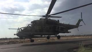 Mi-24's taking off from #ruaf airbase in #syria. slow-mo