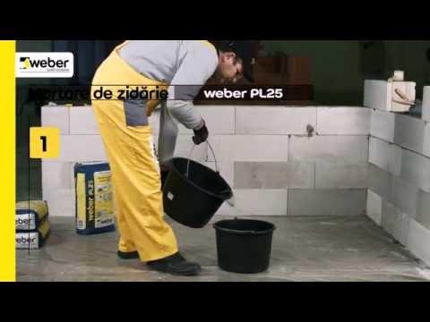Cum să aplici mortar de zidărie pentru BCA weber PL25