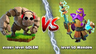 Every Level GOLEM vs Max Grand Warden Clash of Clans Ultimate Gameplay