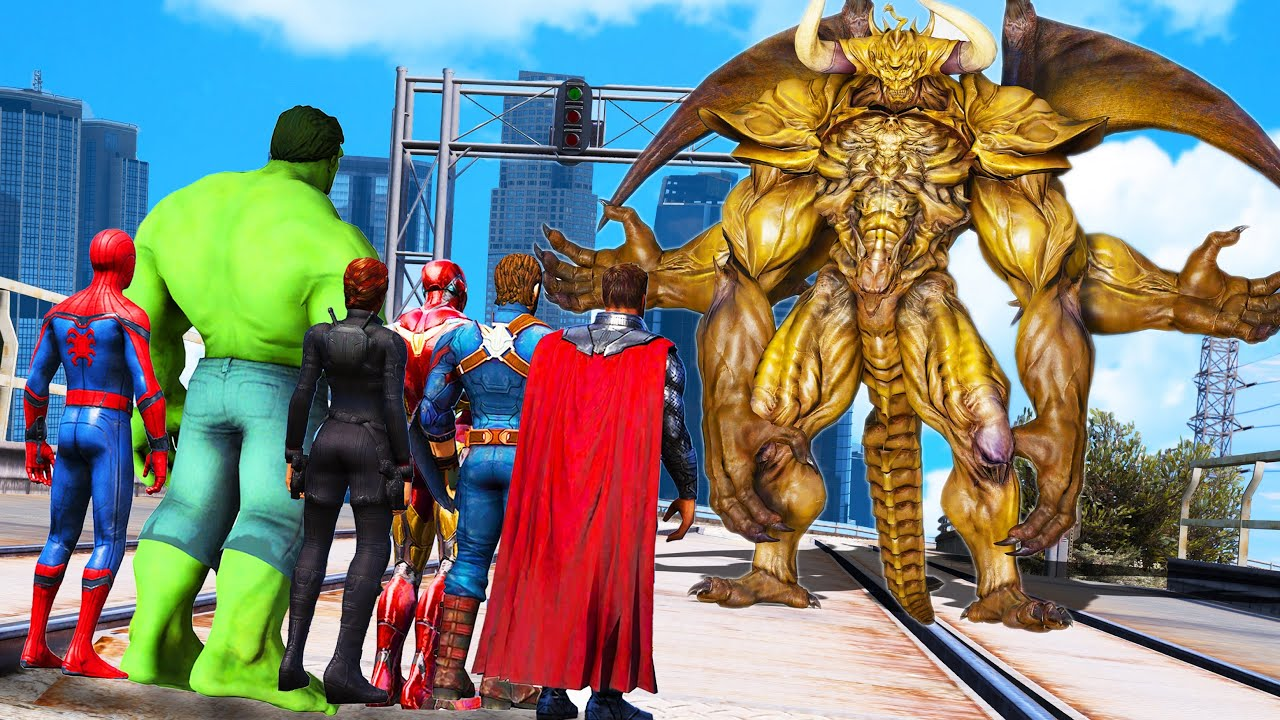 The Avengers & Spider Man & Hulk SAW Chaos Monster Attack City - Monster Universe