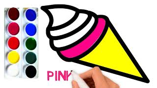 Learn Colors for Kids and Color This Ice Cream Kids Coloring Pages| Learn With Fun