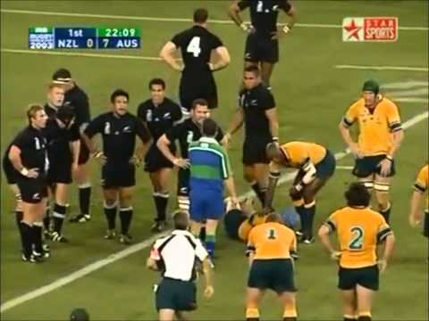 Jerry Collins solid hit on Nathan Sharpe in 2003 RWC Semi Final